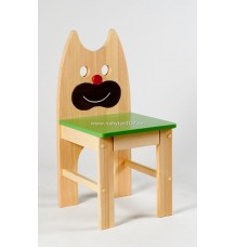 Dřevěná židle Kočka - sedák zelený