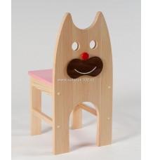 Dřevěná židle Kočka - sedák červený